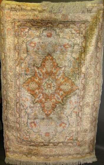 """3: Two (2) Antique Rugs, 2' 11"""" x 4' 7"""", 3' 11"""" x 4' 8"""""""