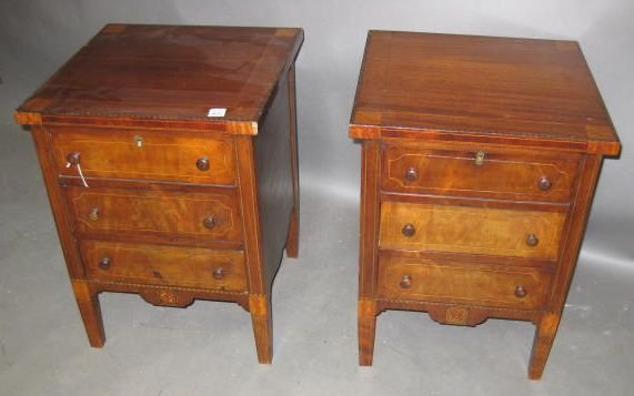 10: Pair of Fine 19th Century Inlaid Night Stands