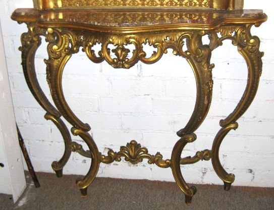 11: 19th C. French Marble-top Giltwood Console Table