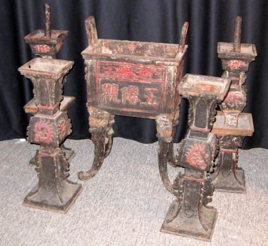 12: Set of (3) 19th C. Chinese Cast Iron Temple Items