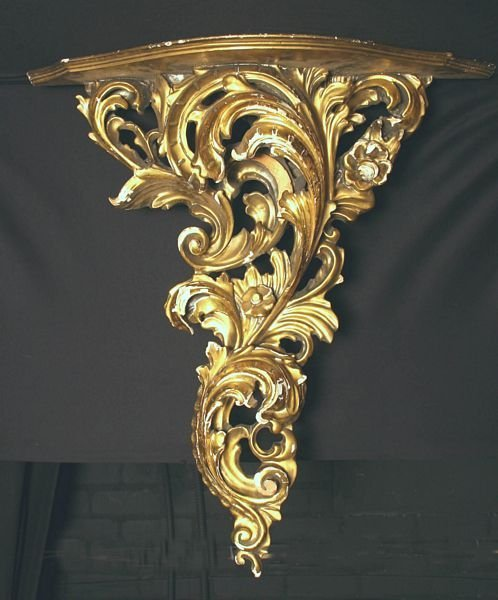14: 19th C. French Carved Giltwood Shelf / Wall Rack
