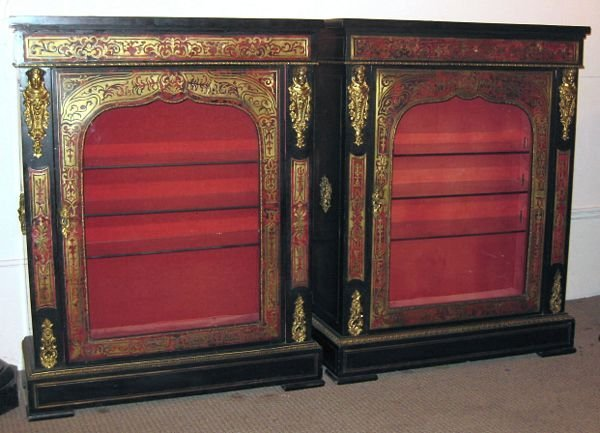 15: Pair of 19th C. French Boulle Cabinets w/ Ormolu