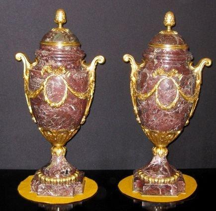 19: Pair of 19thC. Louis XVI Maroon Marble Metal Urns