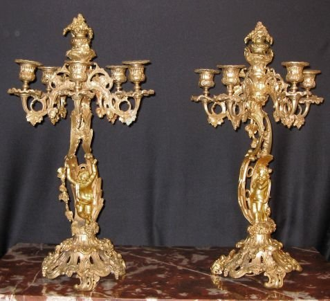 20: Pair of 19th C. French Baroque Candelabra
