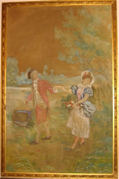 22: Late 19th/early 20th C. Tapestry w/ Carved Frame