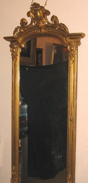 23: 19th C. Carved Giltwood Mirror, Marble-top Base