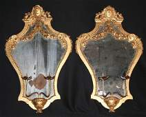 Pair of 19th C. Carved Giltwood Mirror Sconces