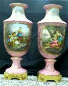 293: Important Pair of 19thC Sevres Pink Porcelain Urns