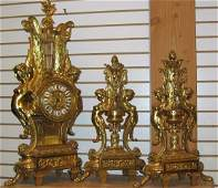 398: Early 20th C. 3-pc French Clock Garniture Set