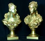 Signed G. Pecroy, Pair of 19th C. Bronze Busts