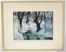Herbert J Gute, Stream, Watercolor