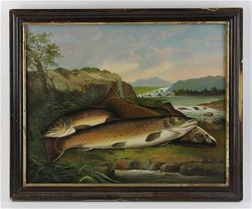 19thC American School, Speckled Trout, Oil on Canvas