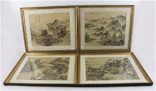 Chinese Paintings of Mountain on Silk