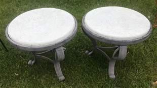 Pair of Painted Brown Metal Round Tables