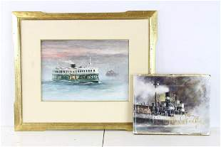 John Kelly Star Ferry at Sea Oil on Board with Book