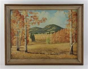 F Sumner Autumn Landscape Oil on Canvas Board