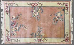 Chinese Rug Coral Blue Pink Cream