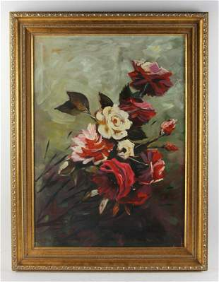 Hardonez Bouquet of Roses Oil on Canvas