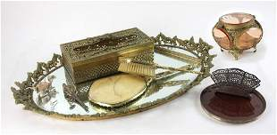 Brass Dresser Tray with Accessories