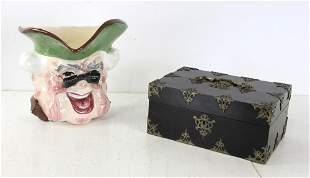 English Box with Porcelain Judge Wall Pocket