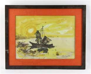 Ramirez Sailboat at Sunset Watercolor
