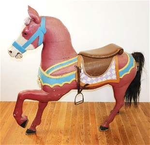 Large Antique Paint Decorated Carousel Horse
