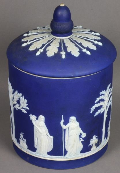1002: 19th C. Wedgwood Cobalt Jasper Biscuit Jar
