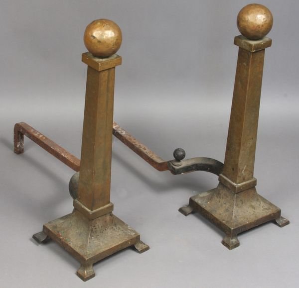 1015: Arts & Crafts Hand-Hammered Brass Andirons