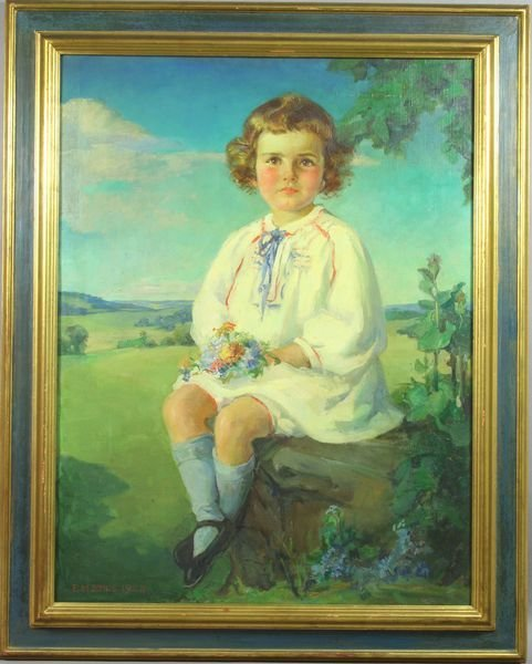 1019: Signed E.M. Enos, 1924, Young Girl, o/c