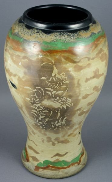 1021: Early 20th C. Japanese Tuisho Art Pottery Vase