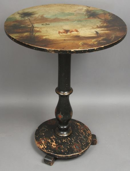 1022: 19thC. Tip-Top Table Painted w/ Pastoral Scene