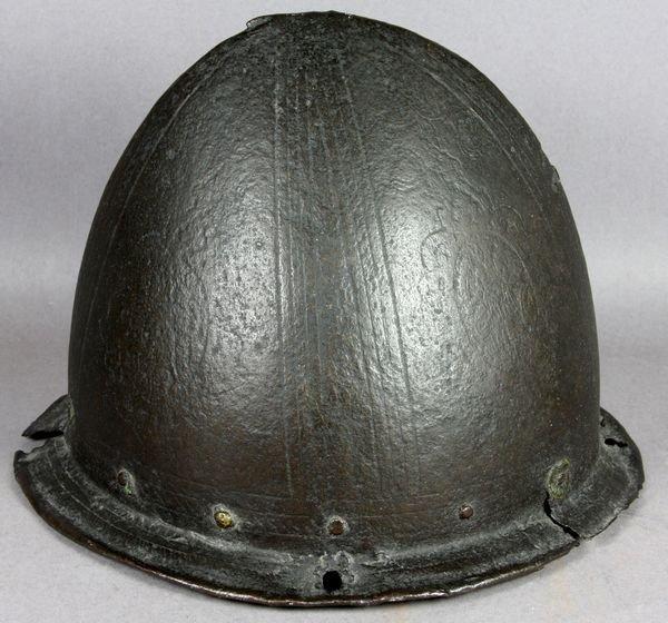 "1141A: C1600 ""Spanish Morion"" Cabasset Steel Helmet - 7"