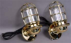2154 Pair Solid Brass Ships Companionway Lamps