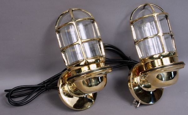 Pair, Solid Brass Ship's Companionway Lamps