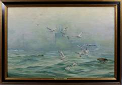 2180B: Signed Anton Otto Fischer, Out of the Fog, o/c