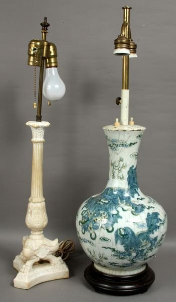 2301: (2) 20th C. Japanese Foo Dog Design Lamps - 2