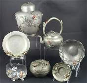 (7) Early 20th C. Chinese Pewter Pieces w/stone