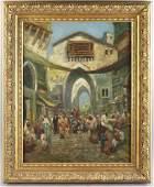 Fredric Bridgman, Oriental Market Scene, O/C