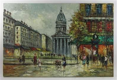 Signed H Duchamp, Street Scene, Oil on Canvas