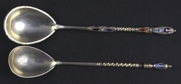 3007: Two (2) Russian Enamel Silver Spoons