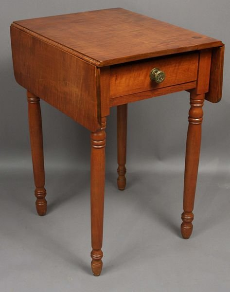 3010: 19th C. Federal Tiger Maple Drop-Leaf Stand