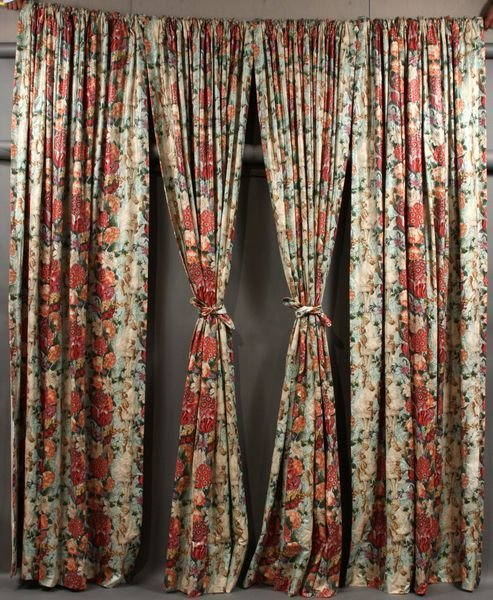3014: Four (4) Chintz Floral Pattern Drapes, 111""