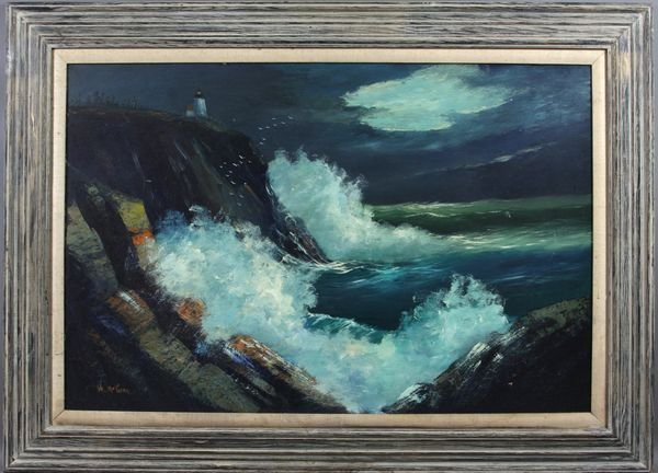 3015: Signed Val McGann, Seascape, Oil on Masonite