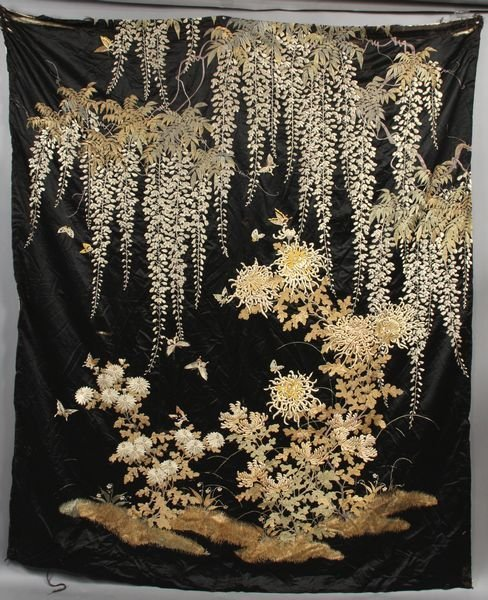 3018: 19th C. Japanese Meiji Embroidered Tapestry