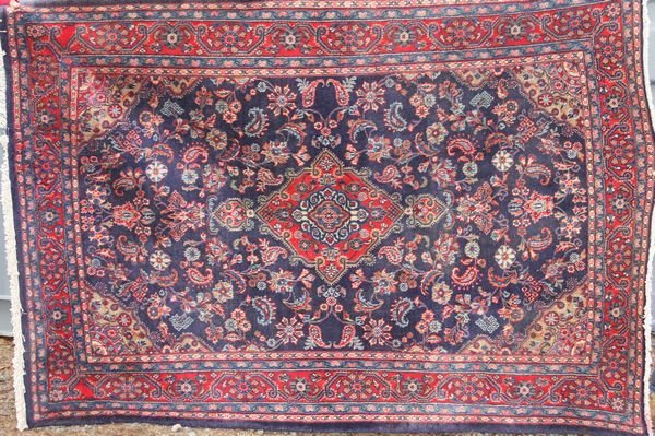 "3019: Semi-antique Persian Sarouk Rug, 4' 7"" x 6' 7"""