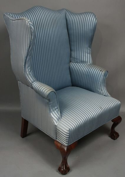 3021: 19th C. Chippendale Mahogany Wing Chair