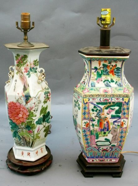4002: Two 19th/20th Century Chinese Porcelain Lamps
