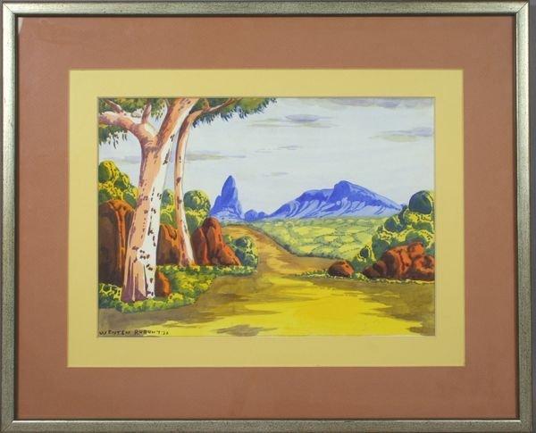 4024: Signed Wenten Rubuntja, Australian Scape, w/c