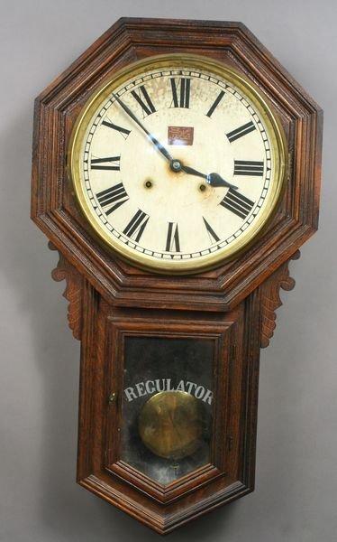 4176: Ansonia Oak Regulator Schoolhouse Clock