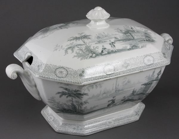 4006: 19th C. English Gray Transfer Covered Tureen